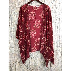 Moa Moa Floral Burgundy Open drape Kimono